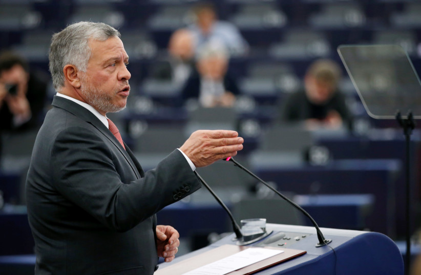 King of Jordan Abdullah II addresses the European Parliament in Strasbourg, France January 15, 2020. (photo credit: VINCENT KESSLER/ REUTERS)