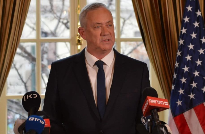 Blue and White leader Benny Gantz speaks to the press after meeting President Donald Trump in Washington DC on January 27, 2020.  (photo credit: ALEXI ROSENFELD)