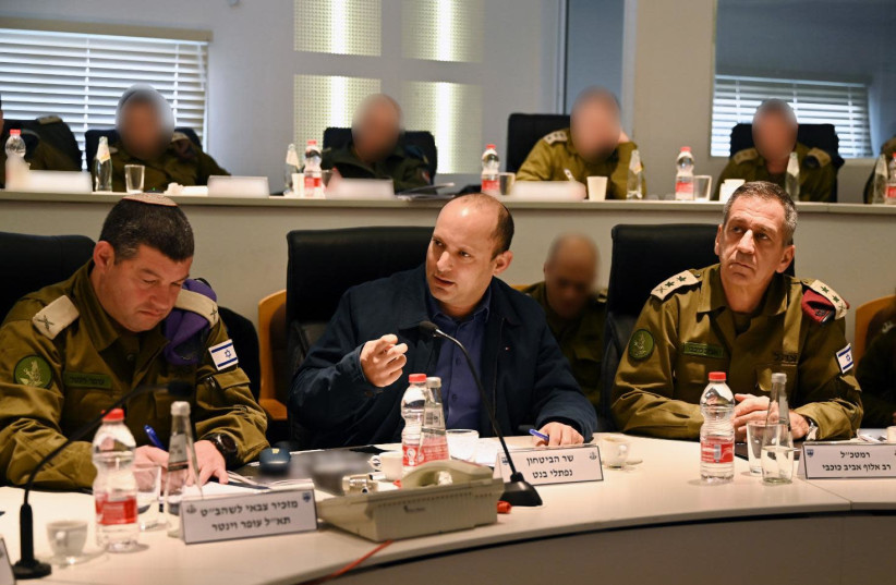 Defense Minister Naftali Bennett meets with IDF officials on January 28, 2020 (photo credit: DEFENSE MINISTRY)