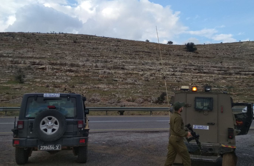 IDF forces at the Palestinian village of Nabi Salih at the central West Bank  (photo credit: MIZMOR LIXESNBERG/TPS)