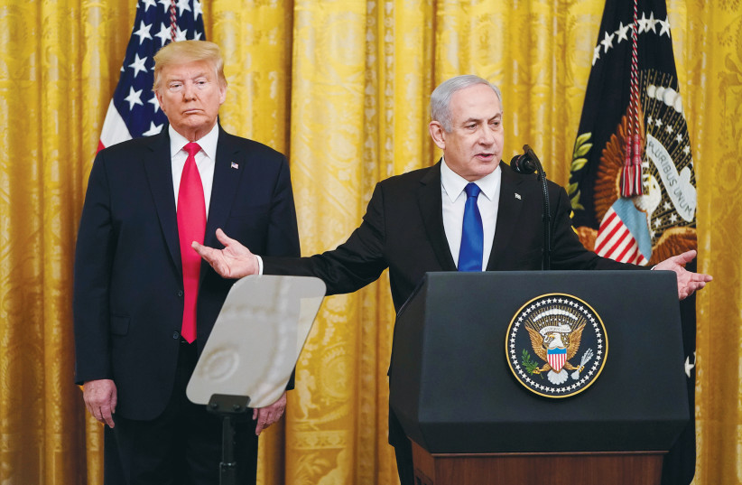 PRIME MINISTER Benjamin Netanyahu and US President Donald Trump announcing the 'Deal of the Century.' (photo credit: REUTERS)