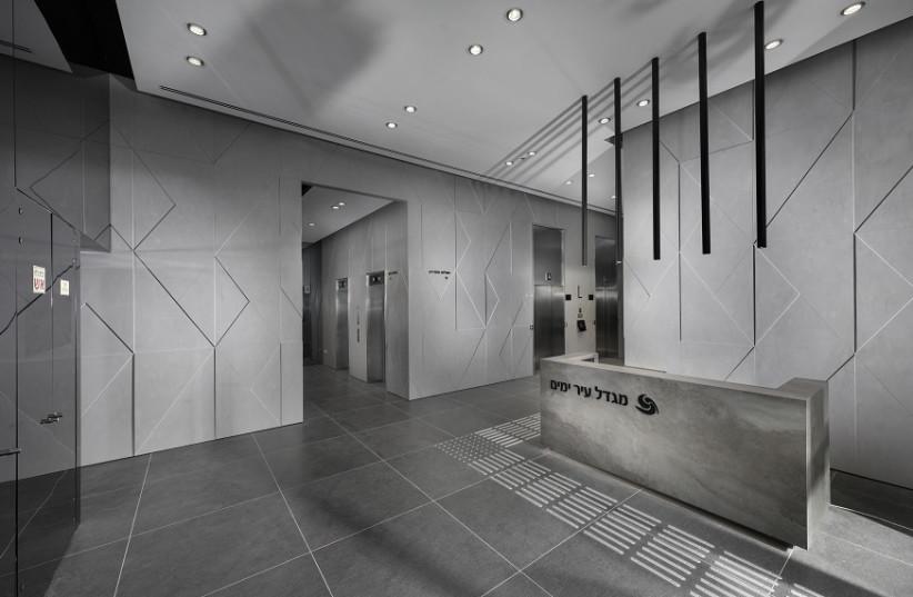 3D Corian Panels oh walls (photo credit: ELAD GONEN)