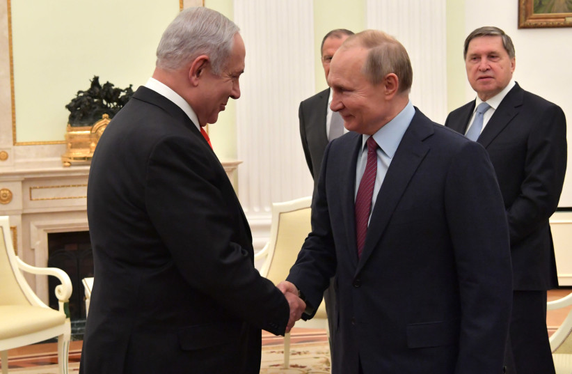 Prime Minister Benjamin Netanyahu meets with Russian President Vladimir Putin, January 30, 2020 (photo credit: KOBI GIDEON/GPO)