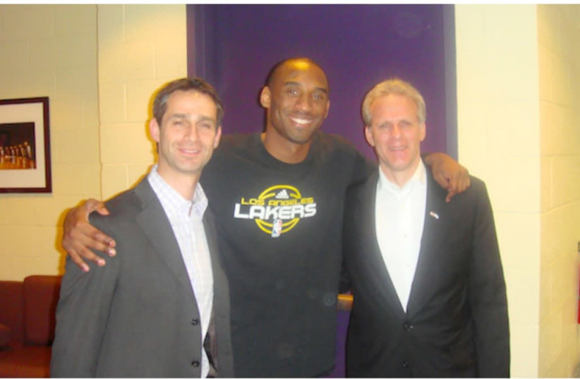 Kobe Bryant alongside then-consul-general in LA Jacob Dayan (left) and then-ambassador to the US Michael Oren. (photo credit: LIOR WEINTRAUB)