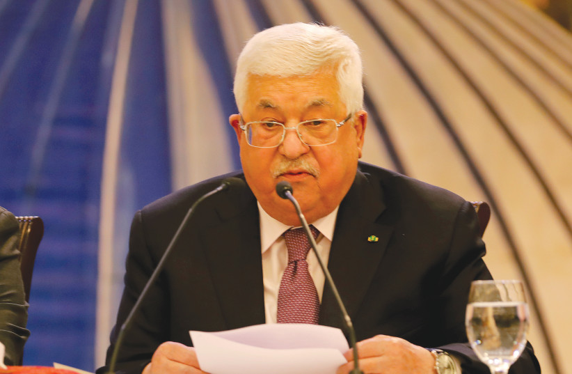 PALESTINIAN PRESIDENT Mahmoud Abbas reacts to the Mideast peace plan Wednesday in Ramallah – 'A thousand no's'.  (photo credit: RANEEN SAWAFTA/ REUTERS)