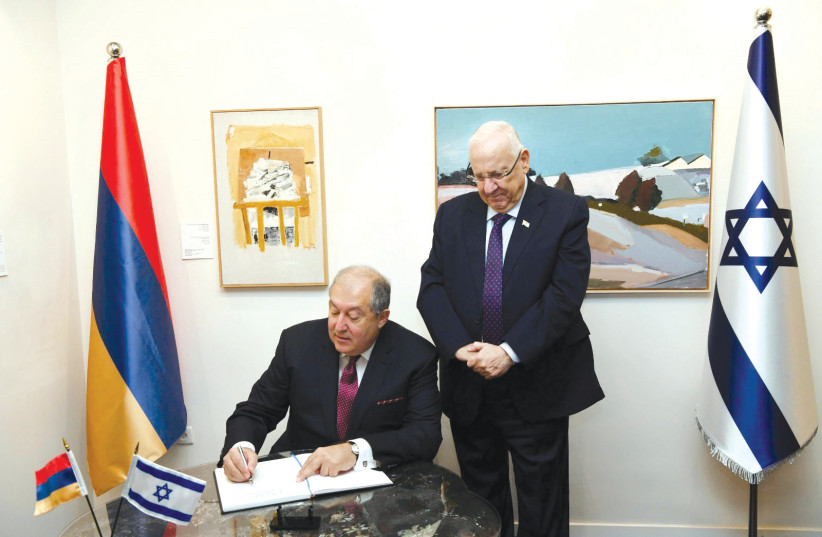 PRESIDENT REUVEN RIVLIN holds a working meeting with Sarkissian. (photo credit: AMOS BEN GERSHOM, GPO)