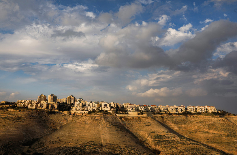 A view of the Maale Adumim settlement in the West Bank, Jan. 28, 2020.  (photo credit: MENAHEM KAHANA / AFP)