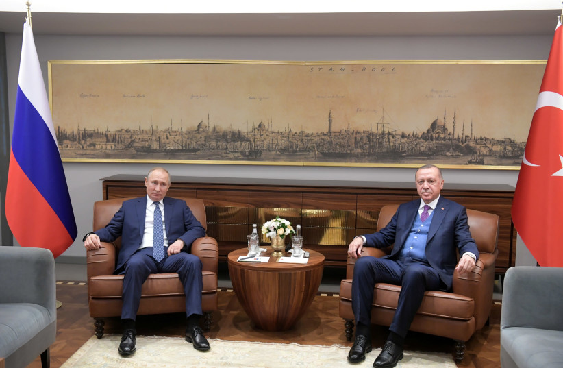 Turkish President Tayyip Erdogan meets with his Russian counterpart Vladimir Putin in Istanbul, Turkey January 8, 2020 (photo credit: SPUTNIK/SERGEI GUNEEV/KREMLIN VIA REUTERS)