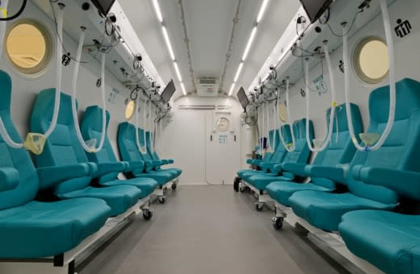 The inside of one of the hyperbaric chambers used for the research at the Sagol Center for Hyperbaric Medicine and Research at Shamir Medical Center. (photo credit: SAGOL CENTER FOR HYPERBARIC MEDICINE AND RESEARCH)