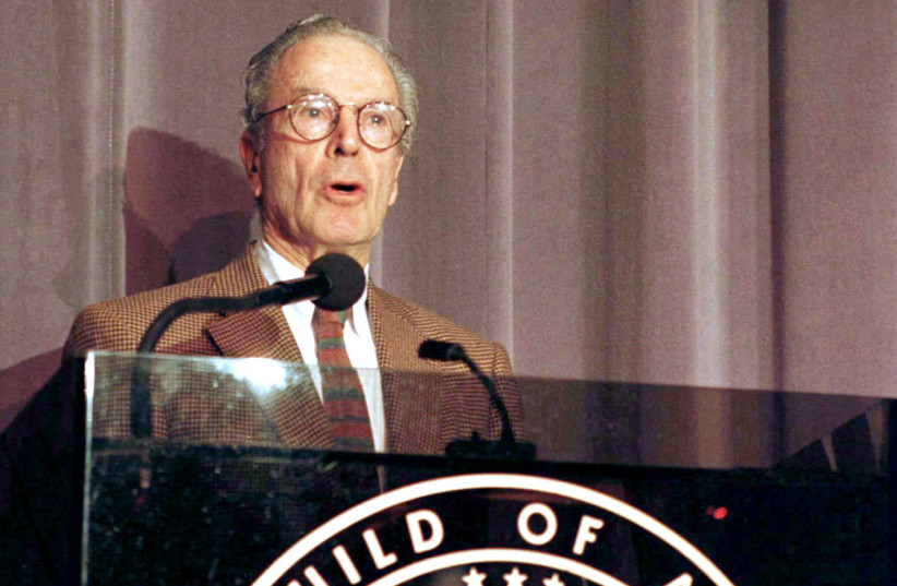 Directors Guild of America president Gene Reynolds announces the Directors Guild of America nominess for outstanding directorial achievement in motion pictures for 1996 films, January 21. (photo credit: REUTERS)