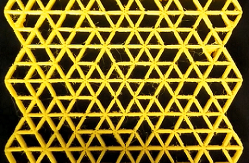Complex mechanical metamaterial designed so that it can deform without changes in the lengths of the bars comprising it. (photo credit: ANNE MEEUSSEN)