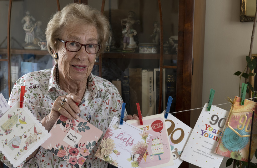 Anne Frank's friend and step-sister Eva Schloss celebrates her 90th birthday in London. (photo credit: STUART FRANKLIN/MAGNUM PHOTOS/ THE LONKA PROJECT)