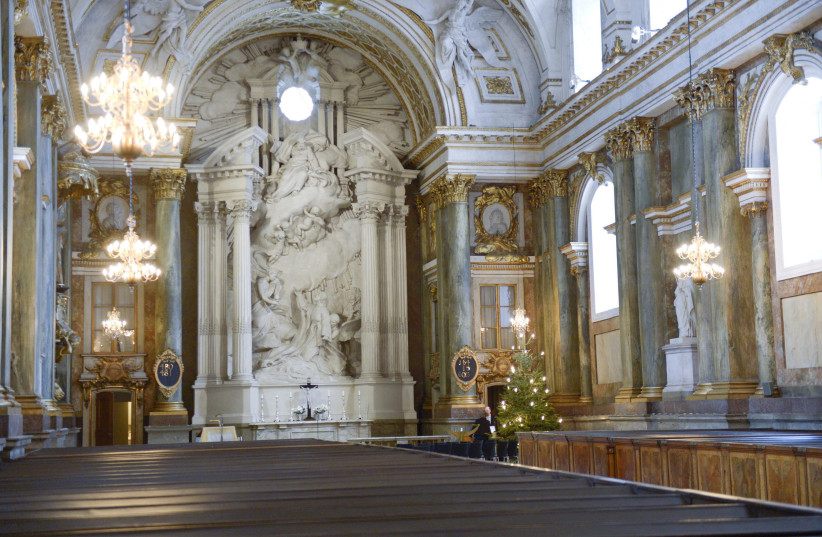 The interior of the church of the Stockholm Royal Palace is seen in Stockholm December 23, 2012. The Swedish royal court announced on Sunday Swedish Princess Madeleine and her fiance Chris O'Neill will get married on June 8, 2013 (photo credit: REUTERS/BERTIL ENEVAG ERICSON/SCANPIX SWEDEN)