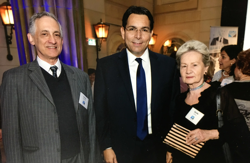 Co-Chairs of Canadians for Israel's Legal Rights, Goldi Steiner (right) and Irving Weisdorf (left), with Israel's UN Ambassador Danny Danon. (photo credit: Courtesy)