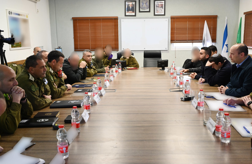 Defense Minister Naftali Bennett holds a situation assessment with IDF and security officials on February 9, 2020 (photo credit: ARIEL HERMONI / DEFENSE MINISTRY)