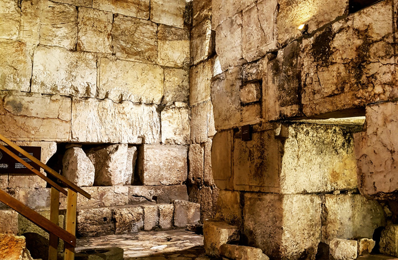 The entrance room, which leads to stairs of a tower that flanks the Roman gate built in 135 CE and is found under Damascus Gate in Jerusalem's Old City. (photo credit: ILANIT CHERNICK)