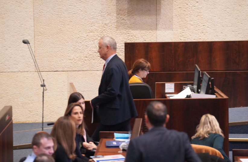 Benny Gantz at the Knesset, February 20, 2020 (photo credit: KNESSET PRESS SERVICE/ADINA VALMAN)