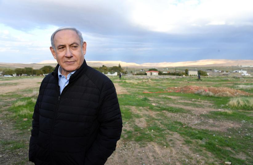 Prime Minister Benjamin Netanyahu in Mevo'ot Yericho in the Jordan Valley (photo credit: HAIM ZACH/GPO)
