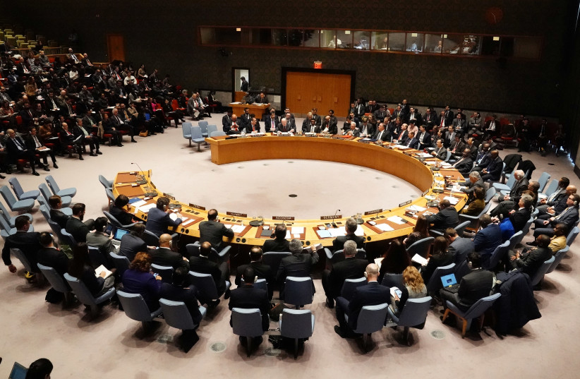 The United Nations Security Council meets about the situation in Venezuela in the Manhattan borough of New York City, New York, U.S., January 26, 2019 (photo credit: REUTERS/CARLO ALLEGRI)