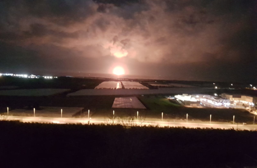 A photo taken overnight by a resident opposite the offshore Leviathan natural gas platform, Feb. 10, 2020 (photo credit: HOMELAND GUARDS)