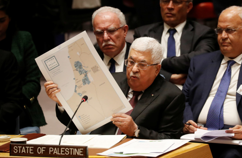 Palestinian President Mahmoud Abbas speaks during a Security Council meeting at the United Nations in New York, U.S., February 11, 2020. (photo credit: REUTERS/SHANNON STAPLETON)