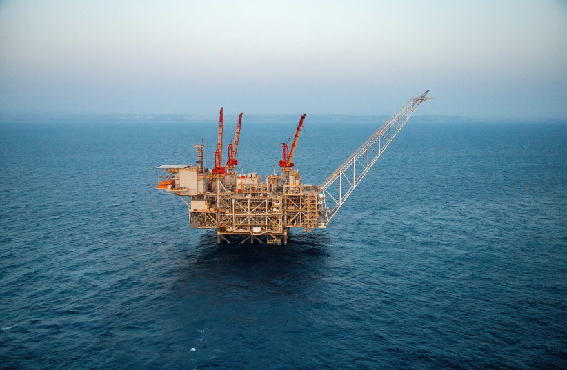 The Leviathan gas platform pictured in the Mediterranean Sea. (photo credit: ALBATROSS)