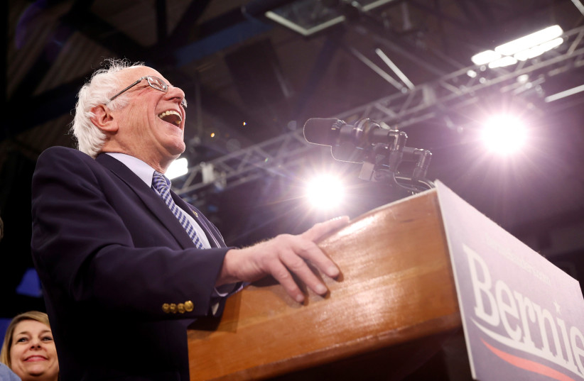 Democratic US presidential candidate Senator Bernie Sanders speaks at his New Hampshire primary night rally in Manchester, NH, US (photo credit: REUTERS)