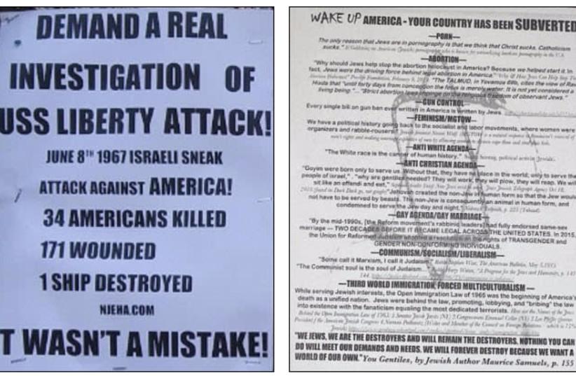 White supremicist and anti-Israel propoganda. (photo credit: COURTESY/ADL)