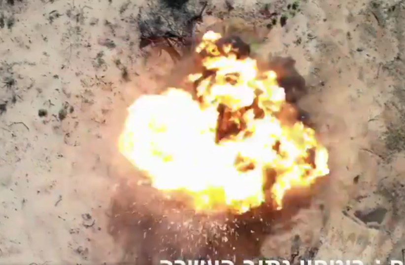 Explosive balloon detonates near Netiv Haasarah, Feb. 2020 (photo credit: SCREENSHOT NETIV HAASARAH SECURITY)