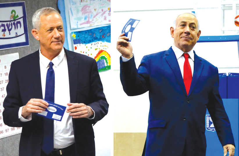 NETANYAHU AND GANTZ vote in April. Are we simply on our way to a fourth election?  (photo credit: REUTERS)