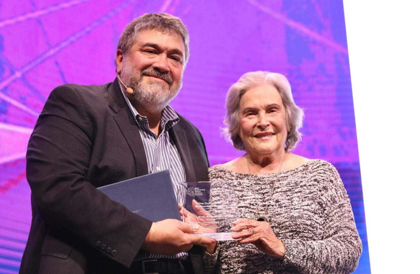 Professor Ruth Arnon, who was awarded the 2020 OurCrowd Maimonides Award for Lifetime Achievement in Science, Leadership and Menschlichkeit at the OurCrowd Global Investor Summit. February 13, 2020.  (photo credit: MARC ISRAEL SELLEM)
