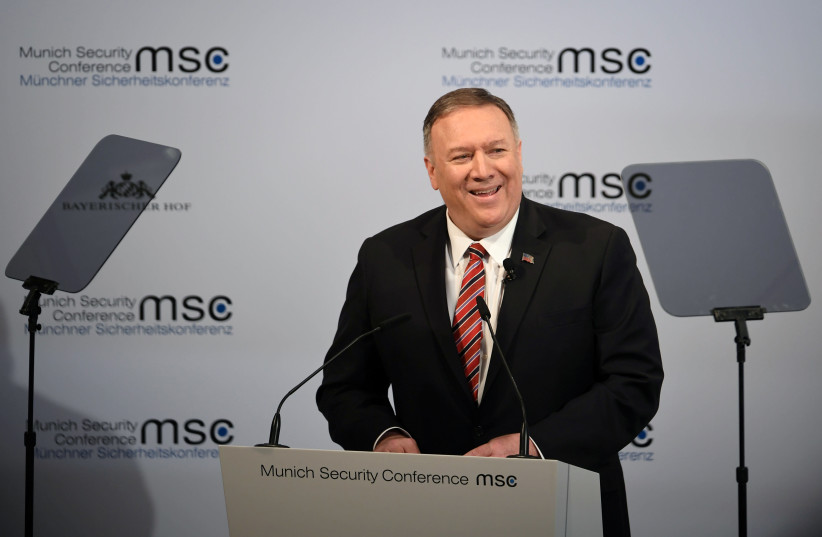 U.S. Secretary of State Mike Pompeo speaks at the annual Munich Security Conference in Germany February 15, 2020 (photo credit: ANDREAS GEBERT/REUTERS)