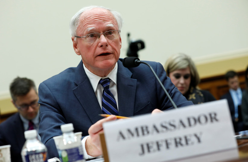 James Jeffrey, U.S. State Department special representative for Syria Engagement; testifies before a House Foreign Affairs Committee hearing on President Trump's decision to remove U.S. forces from Syria, on Capitol Hill in Washington, U.S., October 23, 2019. (photo credit: REUTERS/YURI GRIPAS)