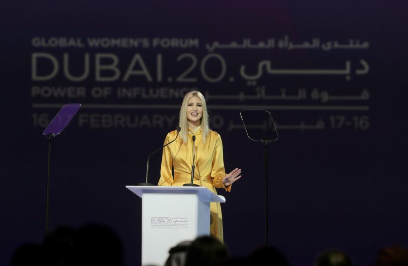 US White House senior adviser Ivanka Trump delivers the keynote address during the Global Women's Forum in Dubai, United Arab Emirates, February 16, 2020. (photo credit: REUTERS/CHRISTOPHER PIKE)