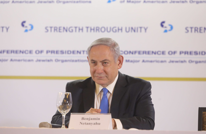Prime Minister Benjamin Netanyahu at Conference of Presidents of Major American Jewish Organizations (photo credit: MARC ISRAEL SELLEM)