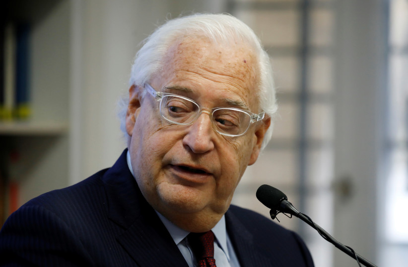 US Ambassador to Israel David Friedman looks on as he speaks during a briefing at The Jerusalem Center for Public Affairs in Jerusalem February 9, 2020. (photo credit: AMIR COHEN/REUTERS)