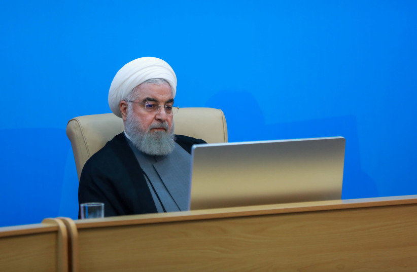 Iranian President Hassan Rouhani is seen during meeting with health ministry top officials in Tehran (photo credit: REUTERS)