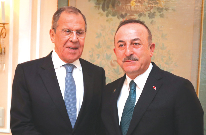 THE RUSSIAN and Turkish foreign ministers meet in Munich last week. (photo credit: REUTERS)