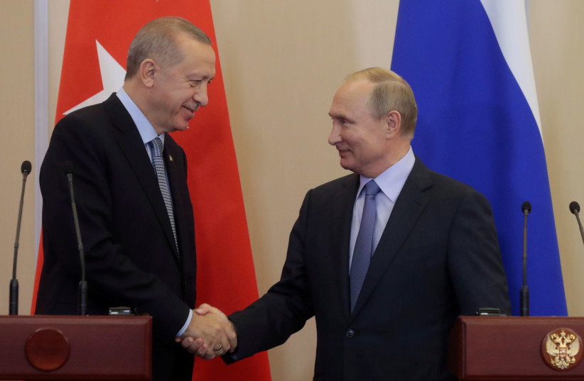 Russian President Vladimir Putin meets with Turkish President Recep Tayyip Erdogan in Sochi (photo credit: REUTERS)