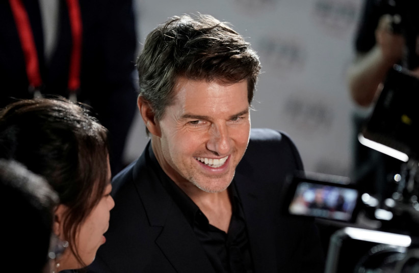 """Cast member Tom Cruise attends a news conference promoting his upcoming film """"Mission: Impossible - Fallout"""" in Beijing (photo credit: REUTERS)"""