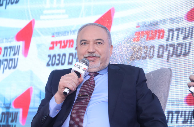 Yisrael Beytenu leader Avigdor Liberman is seen speaking at the 'Maariv' Conference. (photo credit: MARC ISRAEL SELLEM/THE JERUSALEM POST)
