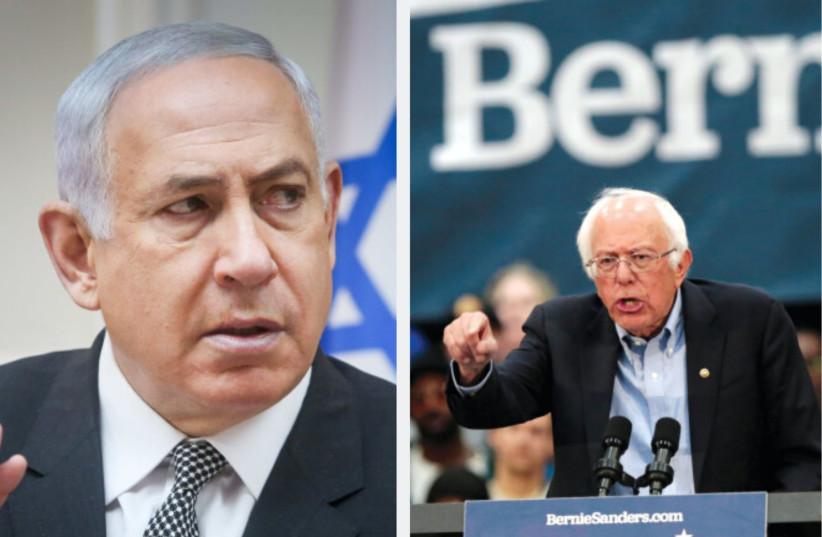 Benjamin Netanyahu; BERNIE SANDERS, one of several US Democratic candidates who spoke at J Street (photo credit: MARC ISRAEL SELLEM/REUTERS)