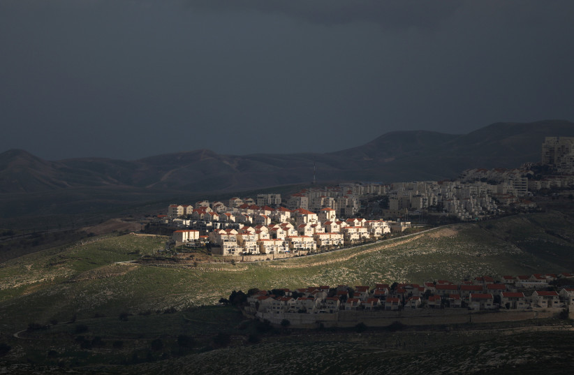 A view of the Israeli settlement of Ma'ale Adumim February 25, 2020. (photo credit: AMMAR AWAD / REUTERS)