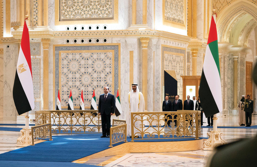 NO ISRAELI leader present. Abu Dhabi's Crown Prince Sheikh Mohammed bin Zayed al-Nahyan and Egyptian President Abdel Fattah al-Sisi are seen during a welcome ceremony in Abu Dhabi. (photo credit: REUTERS)