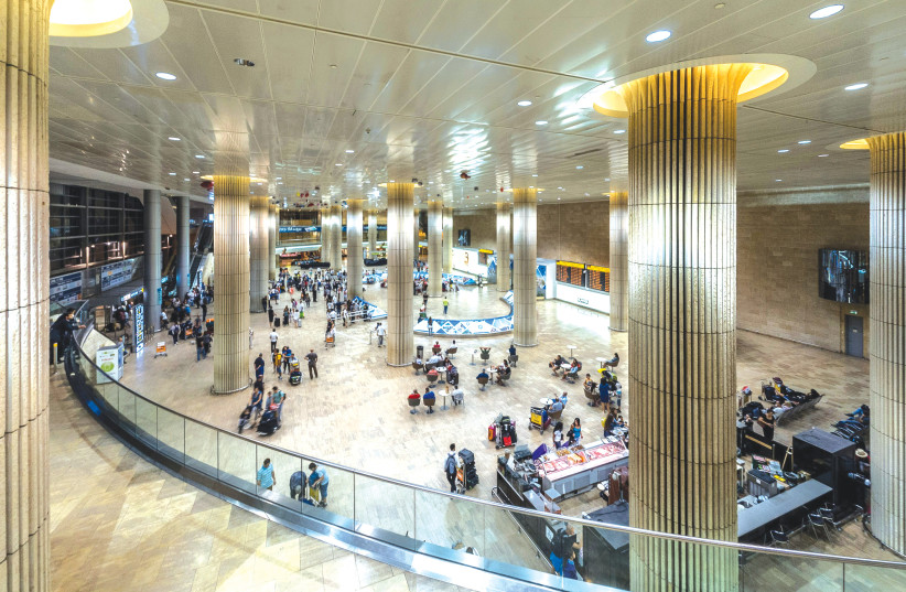 THE ARRIVALS HALL at Ben-Gurion Airport – will it turn into a ghost town? (photo credit: WIKIPEDIA)