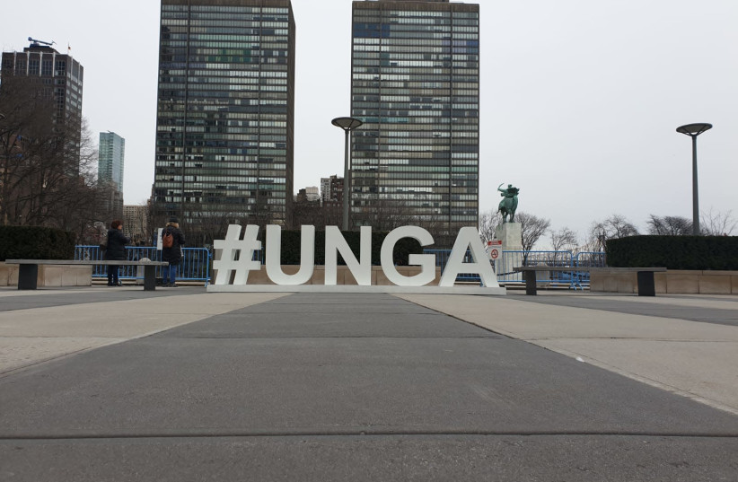 The UN General Assembly sign outside of the United Nations building in New York (photo credit: TAMAR BEERI)
