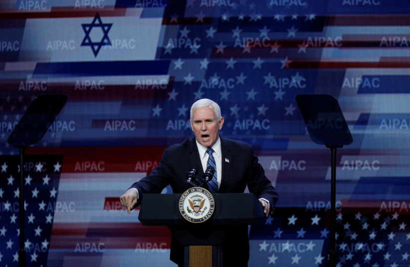 U.S. Vice President Mike Pence delivers remarks during the AIPAC convention at the Washington Convention Center in Washington, U.S., March 2, 2020. (photo credit: TOM BRENNER/REUTERS)