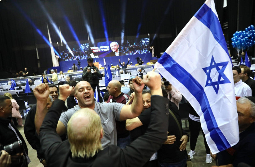 Likud supporters celebrate the exit poll results of the March, 2020 election. (photo credit: MARC ISRAEL SELLEM)