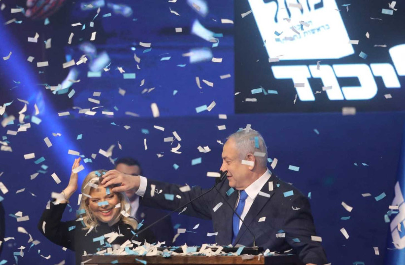 Prime Minister Benjamin Netanyahu celebrates at the Likud victory rally on March 3, 2020.  (photo credit: MARC ISRAEL SELLEM)
