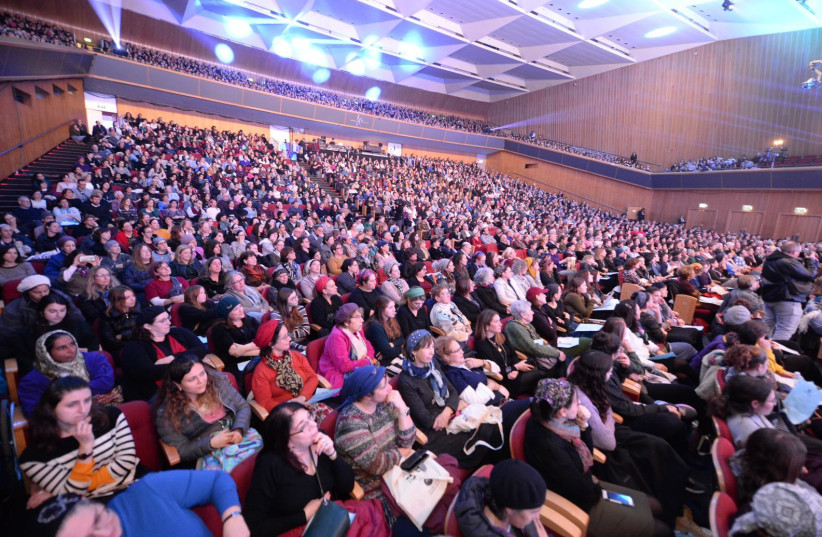 NO LONGER is Gemara study just for men: A sea of women celebrate the Siyum Hashas at the Jerusalem International Convention Center in early January.  (photo credit: MORAG BITAN)